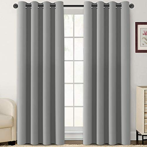 Flamingo P Blackout Curtains 108 Inch Length 2 Panles Set Thermal Insulated Light Blocking Soft Thick Grommet Curtain Drapes for Bedroom/Living Room Home Decoration Window Draperies, Dove Grey