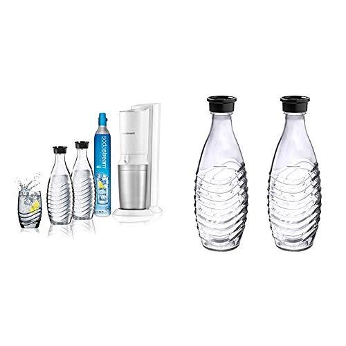 Sodastream Gasatore d'Acqua Frizzante Crystal Mega Pack, 2 Bottiglie di Vetro e 1 Cilindro CO2 inclusi & 1047200490, Caraffe in vetro per gasatore d'acqua, compatibile con Crystal &amp