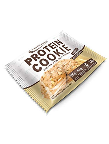 IronMaxx Protein-Cookie - low carb Protein-Snack mit 40g Eiweiß je Cookie - 1 x 75 g in White Chocolate Almond