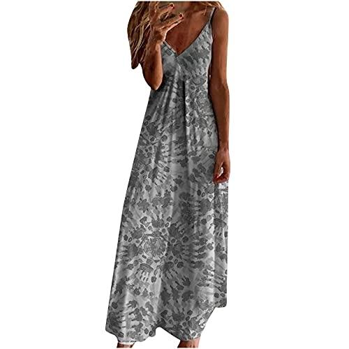 Vestido de verano para mujer, sexy, sin mangas, cuello en V, vestido maxi de fiesta, elegante, largo, informal, cintura alta, vestido de noche, vestido de playa, vestido de falda gris S
