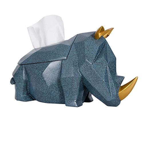 Soporte de la cubierta de la caja del tejido del rinoceronte de la resina para el dormitorio de la sala de estar, la caja de papel de la bandeja de servilleta Caja de papel de la mesa de café / azul /