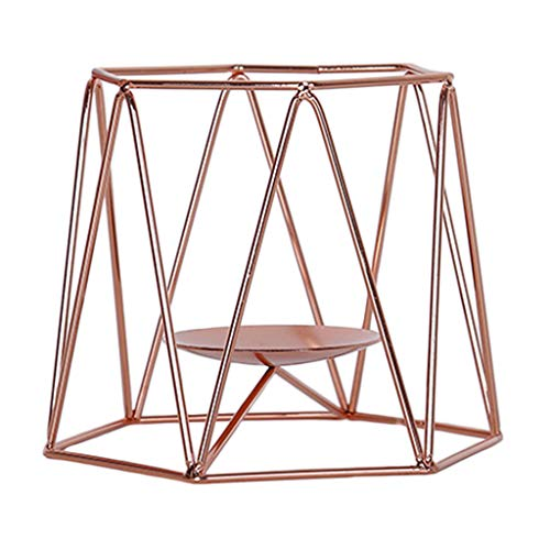 Milageto Wedding Tealight Candle Geometric Candlesticks Standing Home Table Decors - Rose Gold, 12x15x12cm