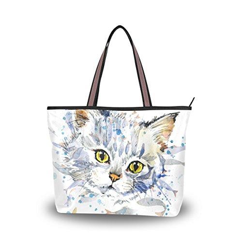 JSTEL - Bolso de hombro grande con asa superior para mujer, diseño de gato