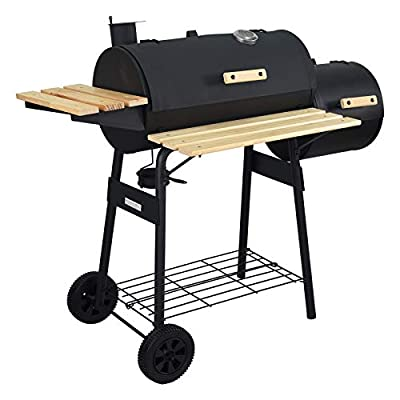 charaHOME BBQ Charcoal Grill with Offset Smokerr,Barbecue Grill for Outdoor Camping or Backyard with Side Fire Box,Heavy-Duty Steel?Black