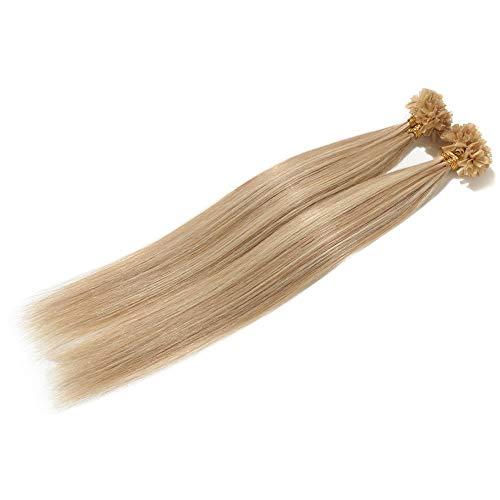 Extension Capelli Veri Cheratina 200 Ciocche Balayage 40-55cm 100% Remy Human Hair Lisci 100g U Tip Hair Extensions 55cm #18/#613 Beige Sabbia Biondo/Biondo Chiarissimo
