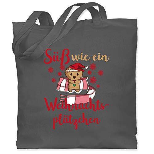 Shirtracer Weihnachten Kind - Süß wie ein Weihnachtsplätzchen - Unisize - Dunkelgrau - stoffbeutel weihnachten - WM101 - Stoffbeutel aus Baumwolle Jutebeutel lange Henkel