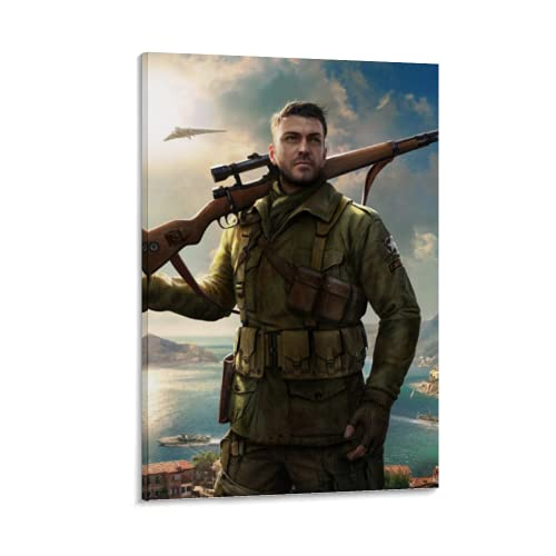 Sniper Elite 4 Shooter Game Xbox One, Soldier Canvas Art Poster And Wall Art Living Room Poster Modern Family Bedroom Poster-Printed Decorative Painting Frame 12x18inch(30x45cm)