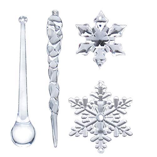 Dergo 40PC Snowflake Icicle Ornament Crystal Christmas Tree Transparent Decoration Decoration & Hangs
