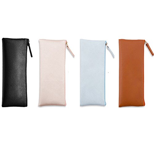 Demarkt Portable Trousse à Stylos Simple Sac en Plastique PU Sac à Crayons Sac de Toile Crayon Cosmétique Sac Trousses Scolaire,Ensemble de 4(Bright Rose + Orange + Bleu Clair + Noir)☆