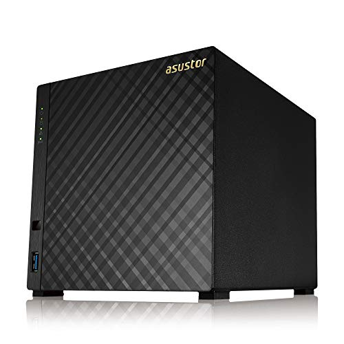 Asustor AS1004T v2 | Network Attached Storage + Free exFAT License | Personal Private Cloud for Music Picture Video Storage | Home Media Server | 1.6GHz Dual-Core, 512MB RAM | 4 Bay Diskless NAS