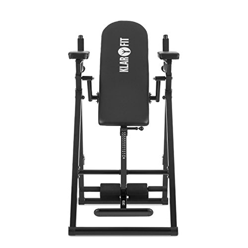 KLAR FIT Power-Gym Tabla de inversión - Banco de inversión para Flexiones, Entrenamiento 6 en 1, Fondos y alzar piernas, 22 Niveles de Altura, hasta 120 kg, Peso 32 kg, Negro