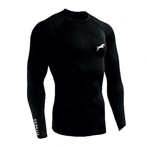 Rider Men's Lycra Full Sleeve Sports T-Shirt (Black_Medium)