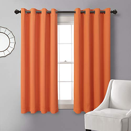 MYSKY HOME Orange Blackout Curtain 63 Inches Length,Grommet Thermal Insulated Room Darkening Curtain Panel for Living Room Bedroom,52 x 63 Inch,1 Piece