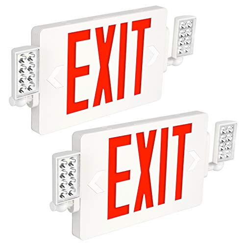 Hykolity Red Exit Sign with Emergency Lights, 120-277V Double Face LED Combo Emergency Exit Light with Adjustable Two Head and Backup Battery - 2 Pack