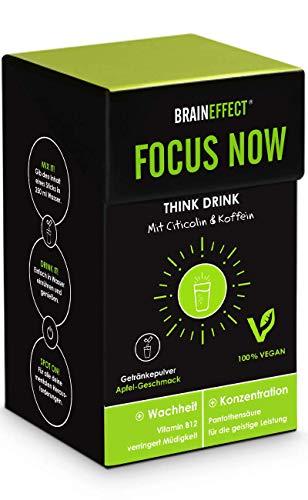 BRAINEFFECT FOCUS NOW - Konzentrations-Drink mit Pantothensäure (Vit B5) - Perfekte Kaffee-Alternative - 15 Sticks - 60 g - Für Veganer Geeignet