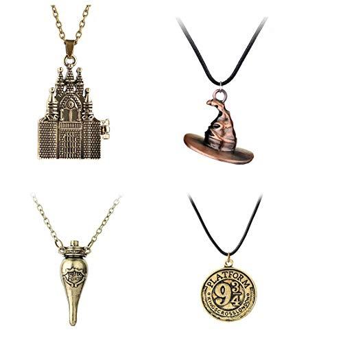 Jintoong 4 collares de las Reliquias de la Muerte, estilo retro, cadena con colgante para Halloween, cosplay, HP, accesorios de joyería para regalos M