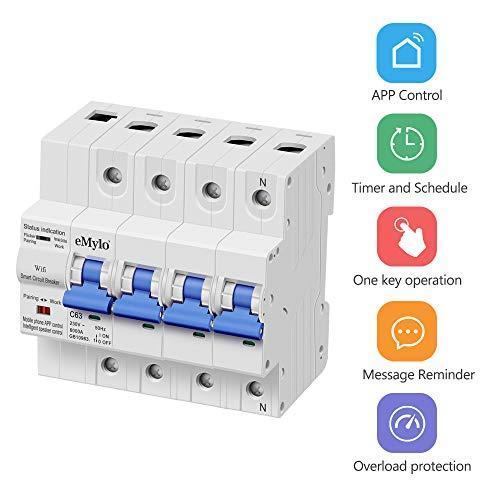 eMylo 4P/63A Interruttori Automatici Interruttore Di Controllo Remoto Wifi Circuit Breaker interruttore con sovraccarico e protezione contro il cortocircuito lavorare con Alexa Google Home 380-400V
