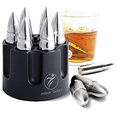 """WHISKEY BULLET STONES WITH BASE - XL, 2.5"""" Original Extra Large Bullet-Shaped Whiskey Chillers, Unique Revolver Freezer Base, Set of 6, Gift for Whisky, Bourbon, Scotch Lovers, Groomsmen, Military"""