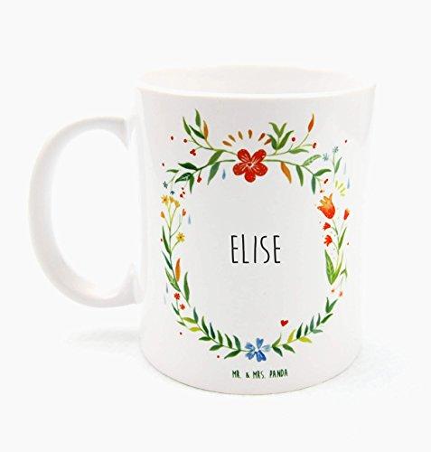 Mr. & Mrs. Panda Tasse Elise Design Frame Barfuß Wiese - 100% handgefertigt aus Keramik Holz - Anhänger, Geschenk, Vorname, Name, Initialien, Graviert, Gravur, Schlüsselbund, handmade, exklusiv