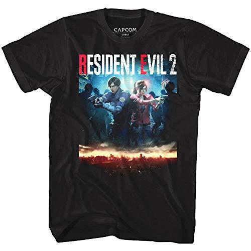 Resident Evil 2 Remake Game Cover Men's T Shirt Chris Jill Zombie Attack Capcom
