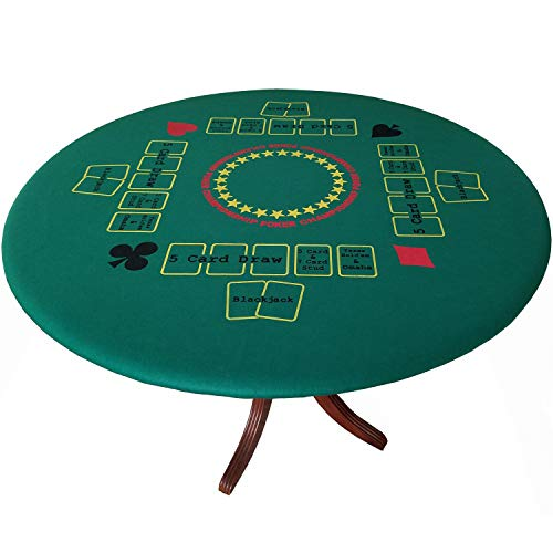 Fitted Round Elastic Edge Championship Poker Felt Game Table Cover Reversible to Solid Green Stretches to fit 36 to 48 inches