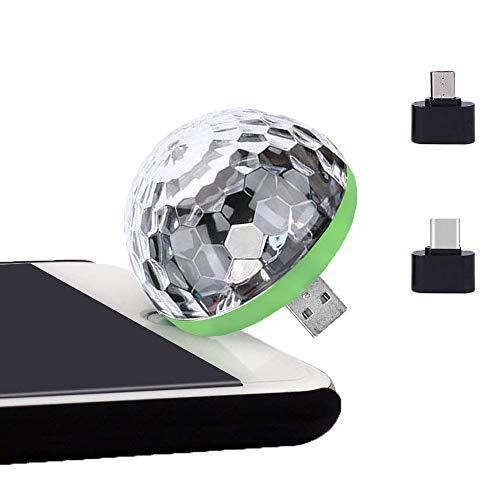 Amecty Party Lichter Mini-Discokugel, LED-Auto-USB-Atmosphärenlicht für Weihnachten, Geburtstag, Club, Karaoke-Dekorationen mit Android-Anschluss