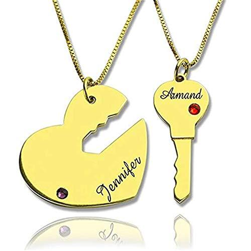 Collana Key with My Lover Collana con Collana Key A My Heart in Argento Sterling, Placcato Oro, Collana di Amicizia placcata Oro Rosa(D'oro-18)