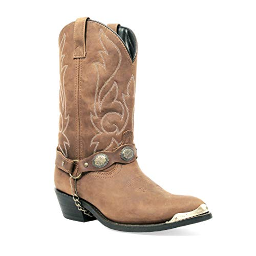 Men's Masterson J Toe Western Cowboy Boot with Chain Strap (Distressed Tan, 10.5)
