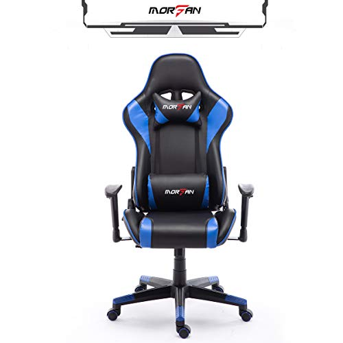 Morfan Massage Gamer Chair Racing Style Computrt Office Chair with Rocking Function Fashion F Series (Blue) blue chair gaming