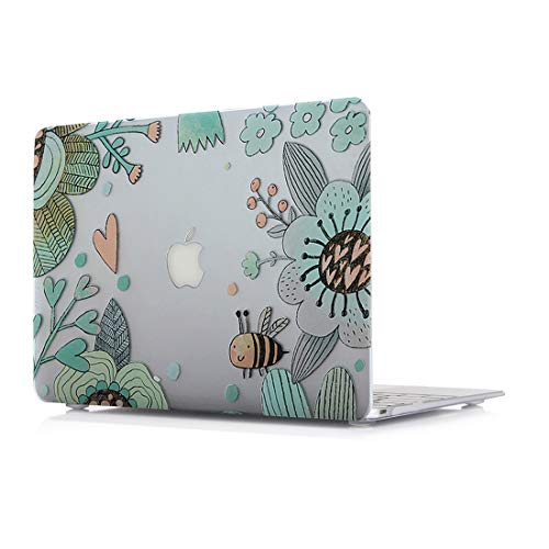 Hard Case for MacBook Air 13 Inch - L2W Plastic Laptop Accessories Sleeves Protective Pattern Printing Design Cover Compatible with MacBook Air 13 Inch Model A1466/A1369,Bee