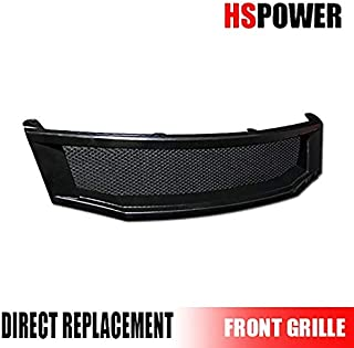 HS Power Black Front Grill Hood Bumper Grille Cover Aluminum Mesh ABS 2008-2010 for Honda Accord 4D 4DR