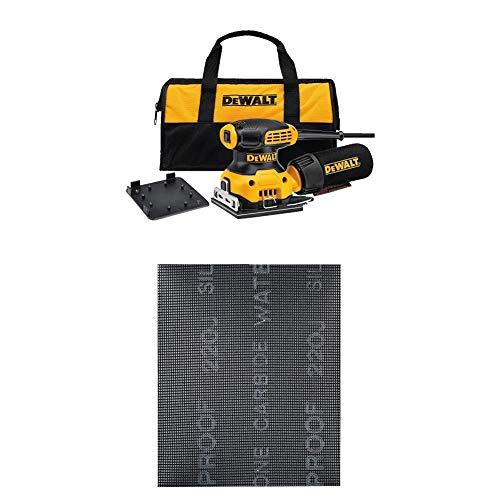 "DEWALT DWE6411K 1/4 Sheet Palm Grip Sander Kit with DEWALT DWAM4323 120 Grit Mesh Sheet (5 Sheets), 1/4"""