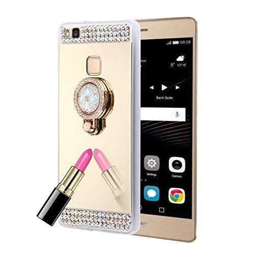 ZAORUN Cubiertas Protectoras para celulares Huawei P9 Lite Diamante incrustado Cubierta de protección de Espejo de galvanoplastia con Soporte de Anillo Oculto (Color : Gold)