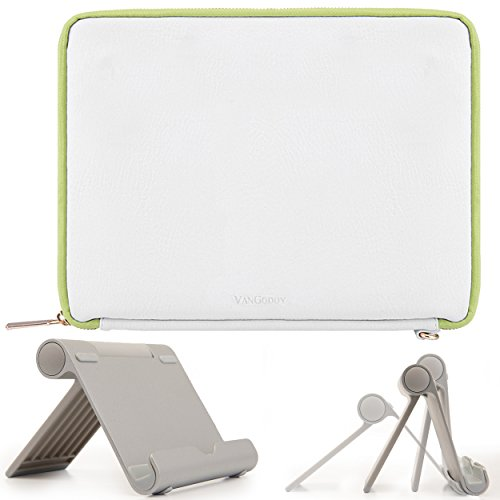 VanGoddy Slim Modern White/Green PU Leather Cover Sleeve Case + Multi-Angle Stand for Acer Iconia One 7 / Iconia One 8