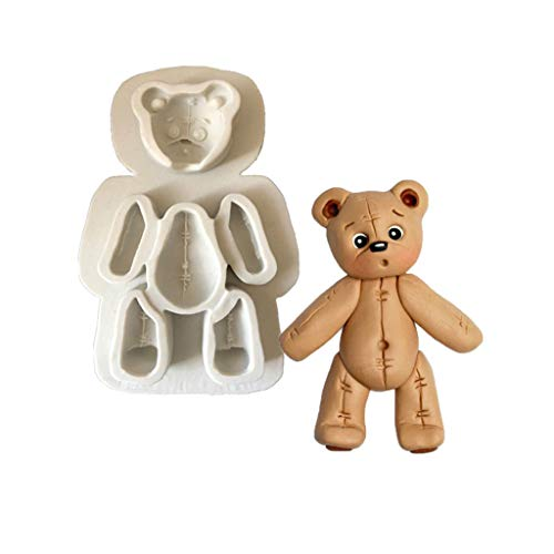 Stampo in silicone per forno fatto a mano, attrezzo per il fai da te a forma di orso di pezza, per cioccolato fondente, pasta di zucchero, argilla polimerica per decorazioni