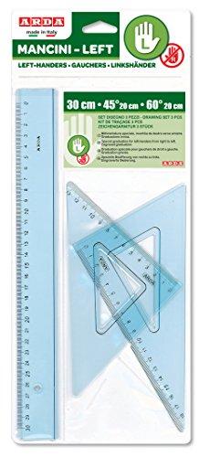 Compuesto de: regla 30cm, equipo 45°/20cm, equipo 60°/20cm Con smusso y borde tirachina Graduación precisa y de larga duración