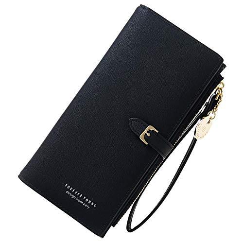 Coopay Kunstleder Geldbörse,Damen Solide Groß Kapazität Brieftasche,Geldtasche mit Reißverschluss Handschlaufe,Frauen Clutch Tasche Handy für Xiaomi Mi A1 A2 Lite/Redmi Note 7 Note 6 Pro - Schwarz