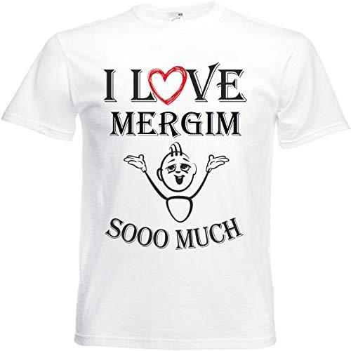 Camiseta con texto 'I Love Mergim para mujer, hombre y niños en color blanco. Blanco XL