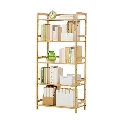 LiChaoWen antieke boekenkast van hout met 5 niveaus, industriële boekenkast voor woonkamer, slaapkamer, keuken, ladder, stijl boekenkast