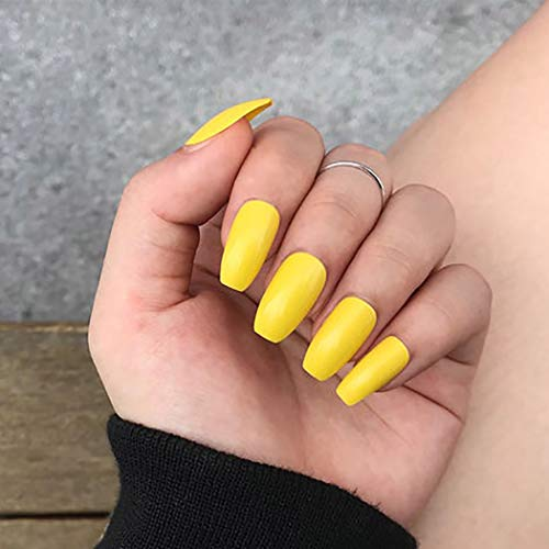 Fdesigner Coffin False Nails Art Accessories Full Cover Long Press on Nails Yellow Acrylic Ballerina Fake Nails Tips for Party Wedding Date Salons