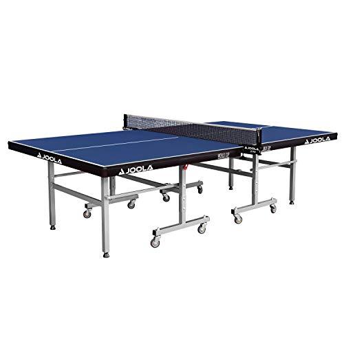 JOOLA Tischtennistisch WORLD CUP - Indoor Tischtennisplatte Freizeitsport - Einklappbares Untergestell Schneller Aufbau, Blau, 22 MM Plattenstärke