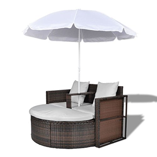 vidaXL Garden Lounge Set Poly Rattan Lounge Set Brown