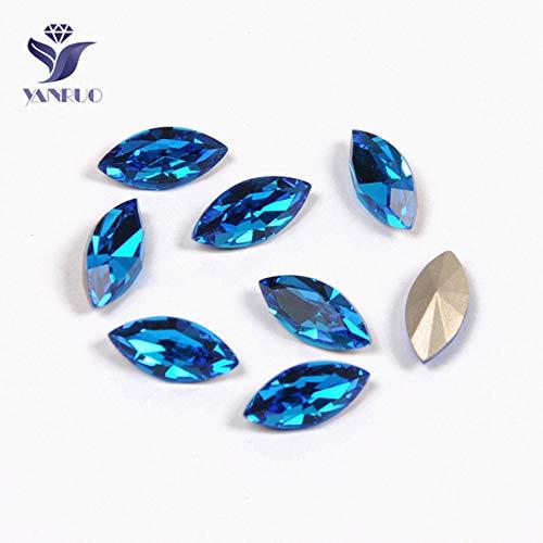 MFKW 4200 Navette top diamant op stenen naaien gouden kristallen voor zilveren klauwen jurken, capri-blauw, met gouden klauwen