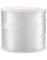 Joyería Cordón 0.8mm Hilo de Abalorios Transparente Elástica Alambre para Joyeria Fabricacion Pulseras Collares 100m