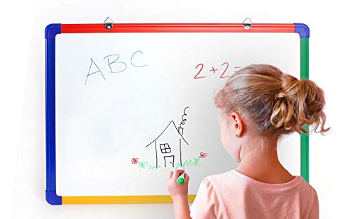 IbexStationers Magnetic Kids Whiteboard for Home Learning, Wall Mounted, Double Sided with 4 Color Dry Erase Markers, Eraser - 18 x 24 Inches