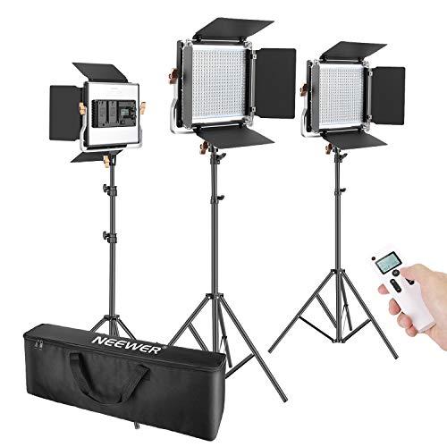 Neewer 3 Packs 2,4G 480 LED Video Luz Fotografía Kit Iluminación Panel LED Bicolor Regulable con Pantalla LCD Control Remoto Inalámbrico Soporte Luz para Fotografía Producto