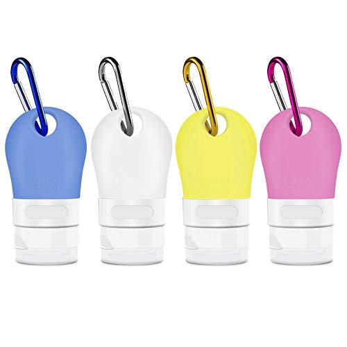 Opret Botella de Viaje 4 Pack Botella Recargable con Clip 38ml Botes Viaja de Silicona para Gel, Jabón Líquido, Champú y Loción, FDA Certified BPA Free