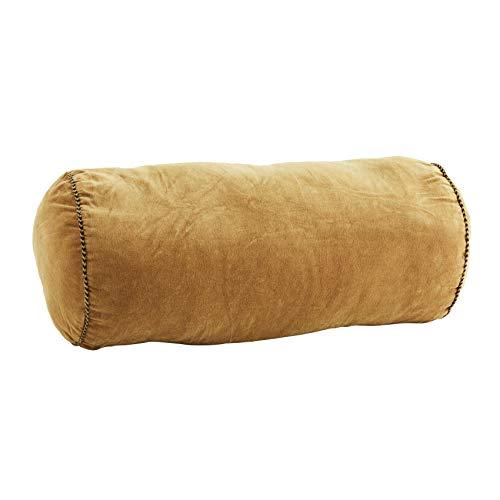 MADAM STOLTZ Kissen mit Füllung rund Nackenrolle aus Samt in Honiggelb, Maße: Ø20x50cm, aus Baumwolle