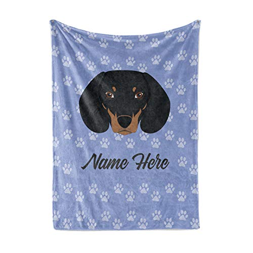 Personalized Custom Pet Dachshund Fleece and Sherpa Throw Blanket for Men Women Kids Babies Blankets Perfect for Bedtime Bedding Gifts Décor