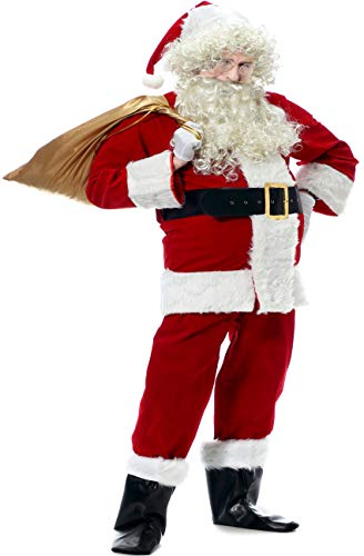 Santa Suit For Men, Men's Deluxe Santa Suit 10pcs Christmas Ultra Velvet Adult Santa Claus Costume